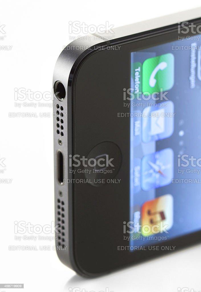 Apple iPhone 5 smartphone connectors stock photo