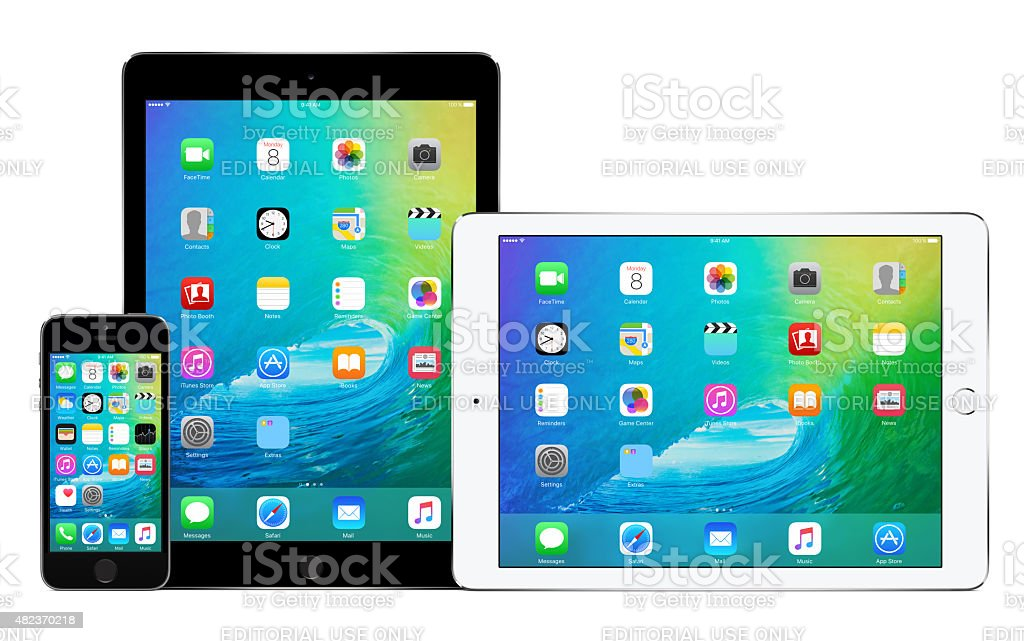 Apple iPhone 5s and two iPad Air 2 stock photo