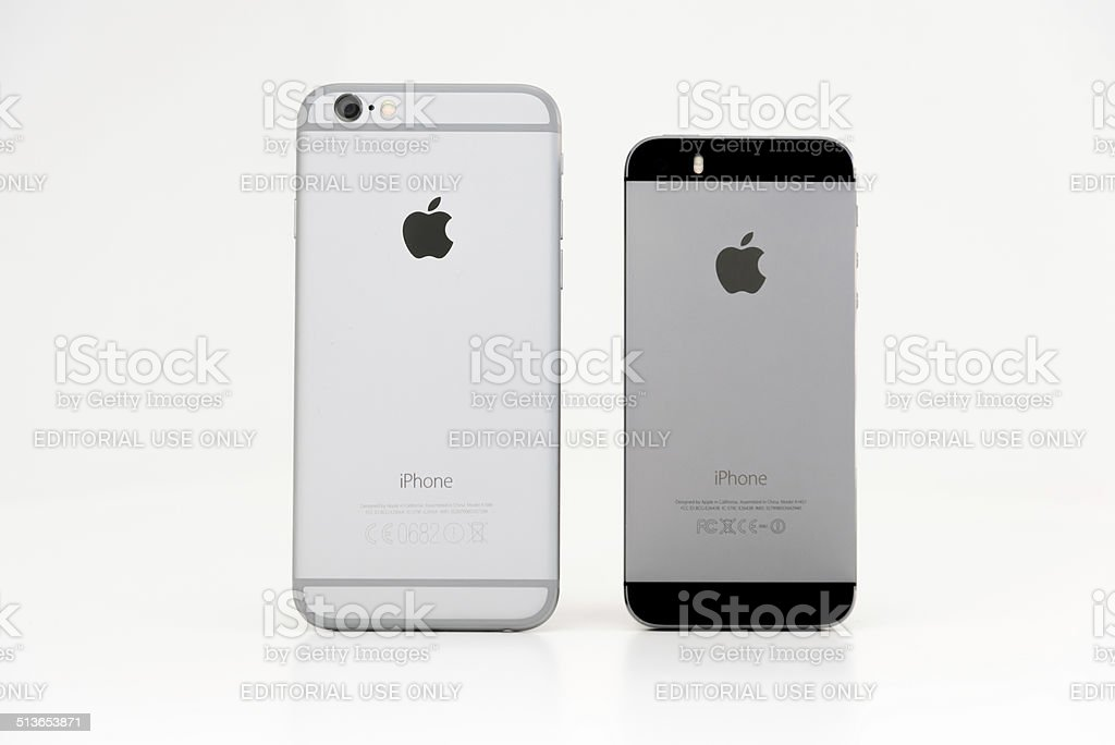 Apple iPhone 6 and 5s Rear View Comparison stock photo