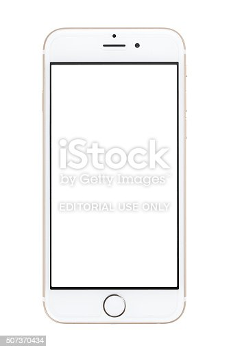 Chlumcany, Czech Republic, January 10, 2016: Apple iPhone 6 isolated on white background