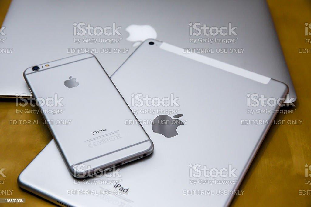 Apple iPhone 6 plus, iPad air 2 and MacBook Air stock photo