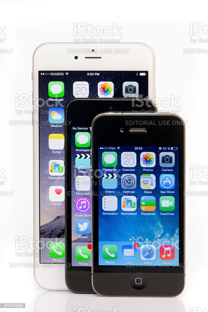 Apple iPhone 6 Plus, iPhone 5 and iPhone 4 Comparison stock photo