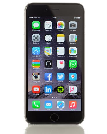 istock Apple iPhone 6 Plus on white background 470656946