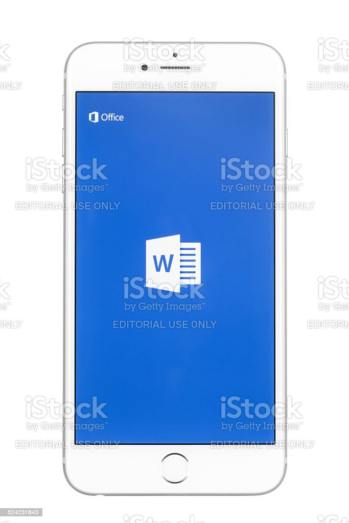 Apple iPhone 6 Plus Showing The Microsoft Word App Screen stock photo