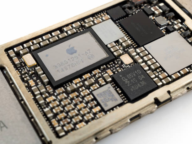 Apple iPhone 6 power management IC chip stock photo