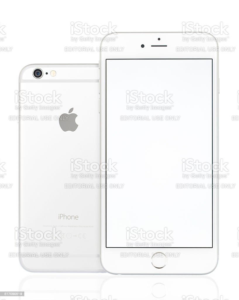 Apple iPhone 6 Silver and Silver Plus with Blank Screen stock photo
