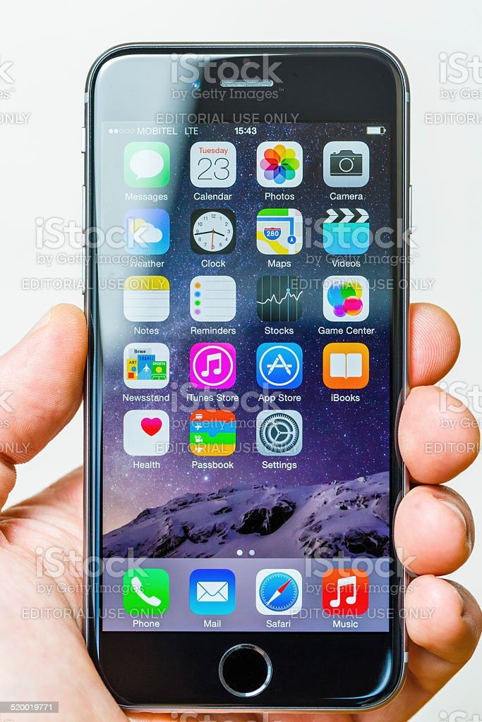 Apple Iphone 6 Size Vs Human Hand Stock Photo - Download