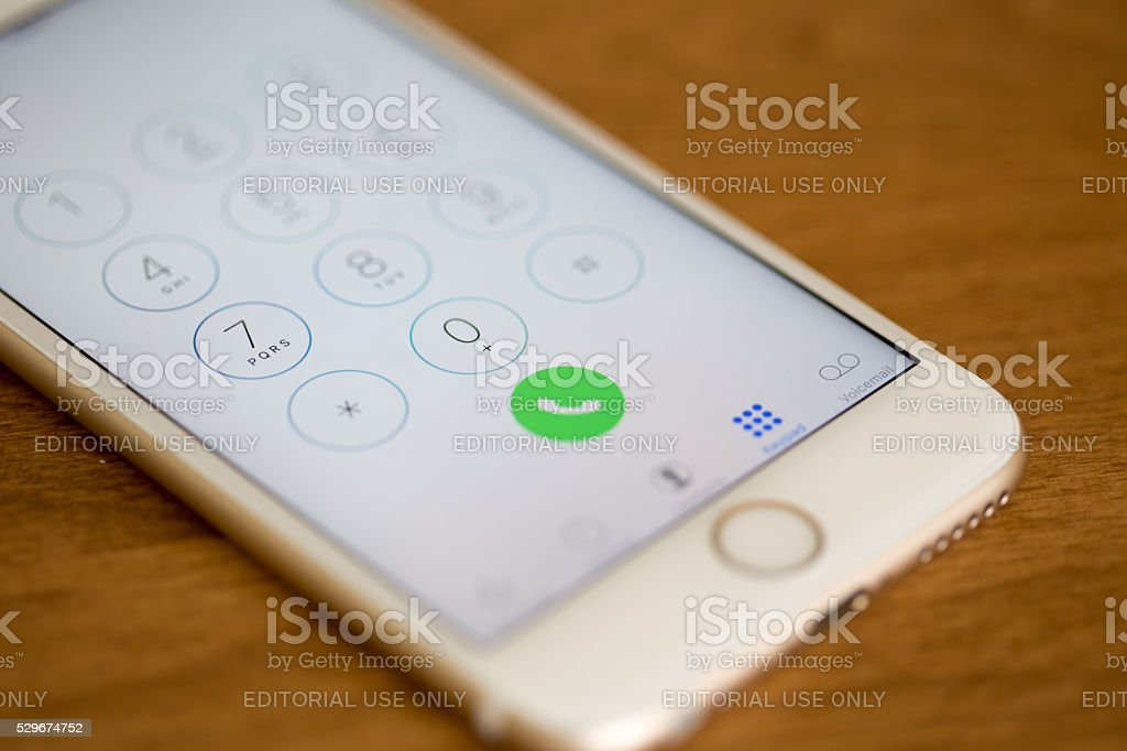 Apple iPhone 6S Dialer Screen stock photo