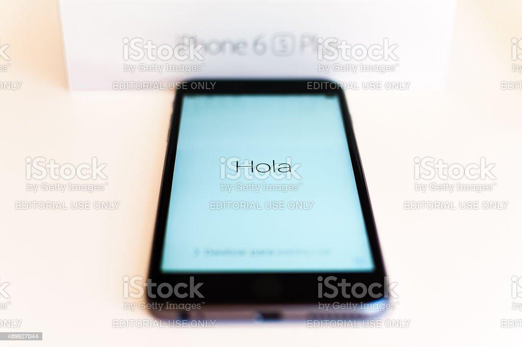Apple iphone 6s plus greeting in spanish stock photo more pictures apple iphone 6s plus greeting in spanish royalty free stock photo m4hsunfo