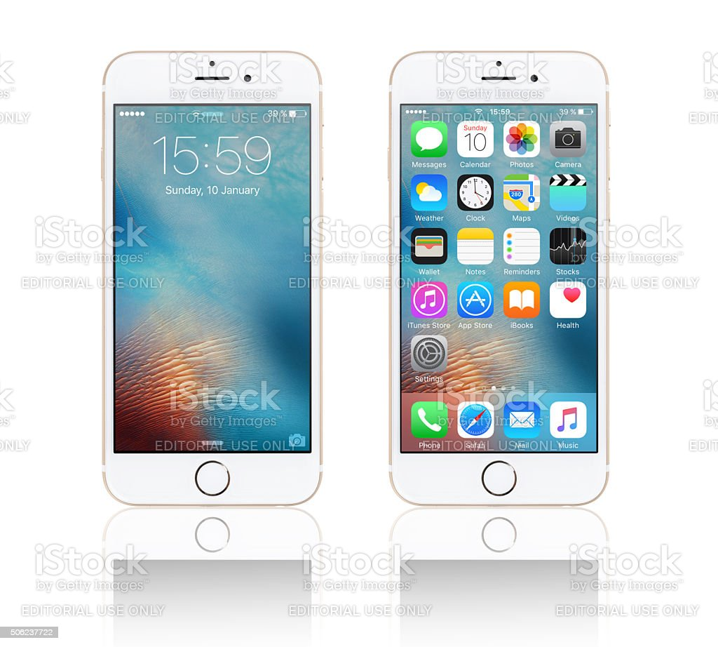 Apple iPhone 6s with iOS 9 stock photo