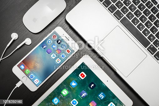 istock Apple iPhone 8 plus with social network apps on the screen 1078250160
