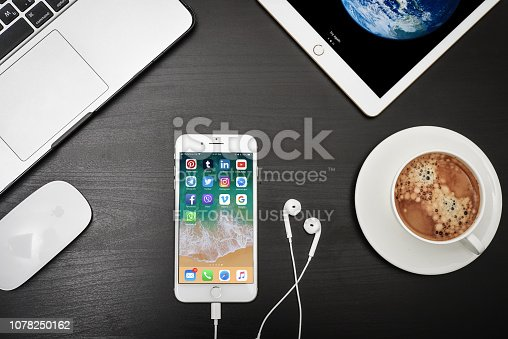 istock Apple iPhone 8 plus with social network apps on the screen 1078250162