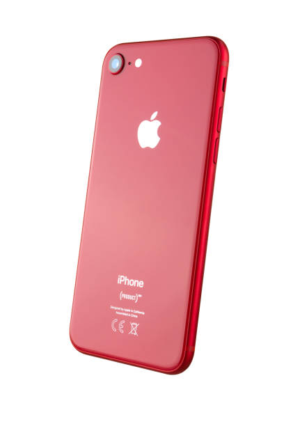 Apple iPhone 8 (PRODUCT) RED on white background. stock photo