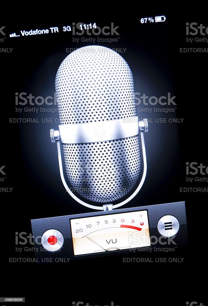 Apple Iphone Application Voice Memos stock photo