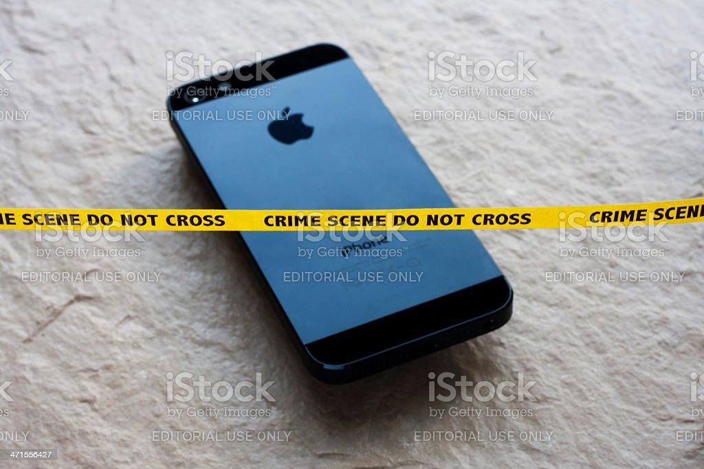 Apple iPhone Crime Scene stock photo