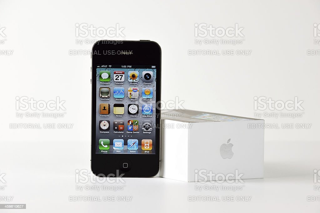 Apple iPhone Four In A Standard Horizontal Product Shot royalty-free stock photo