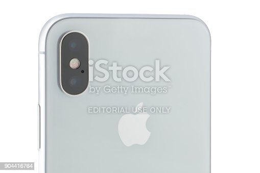 892510910 istock photo Apple iPhone X 256GB Silver Rear View 904416764