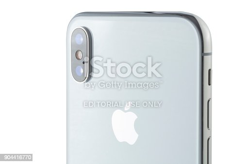 892510910 istock photo Apple iPhone X 256GB Silver Rear View 904416770
