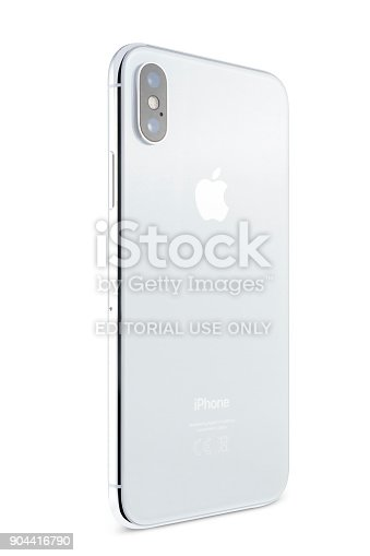 892510910 istock photo Apple iPhone X 256GB Silver Rear View 904416790