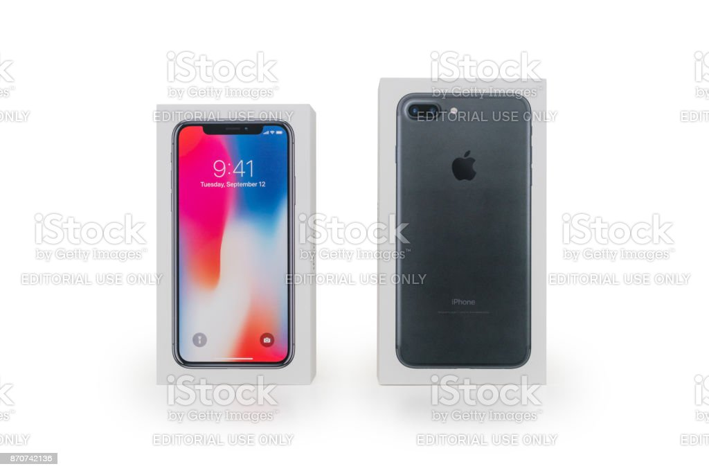 Apple iPhone X and iPhone 7 Plus Retail Boxes Packaging stock photo