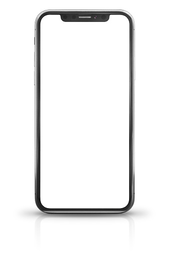 Studio shot of a iPhone X. Front view showing a blank screen. Specs: size 5.8 inches, resolution 1125 x 2436 pixels 19.5:9 ratio, camera 12MP. It is a smart phone produced by Apple Computer Inc and released in 2017, September.