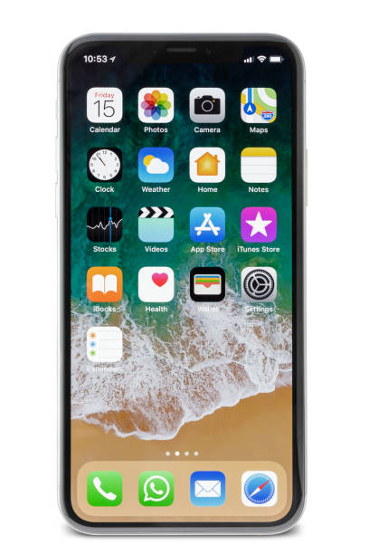 Apple iPhone X Silver Home Screen stock photo