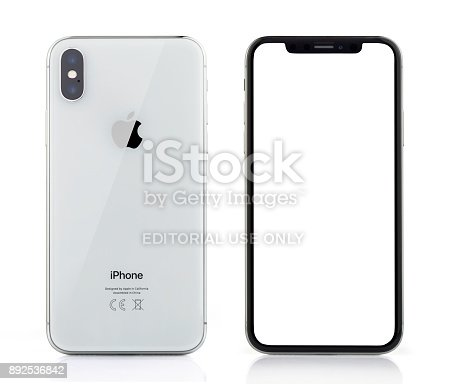892510910 istock photo Apple iPhone X Silver White Blank Screen and Rear view 892536842