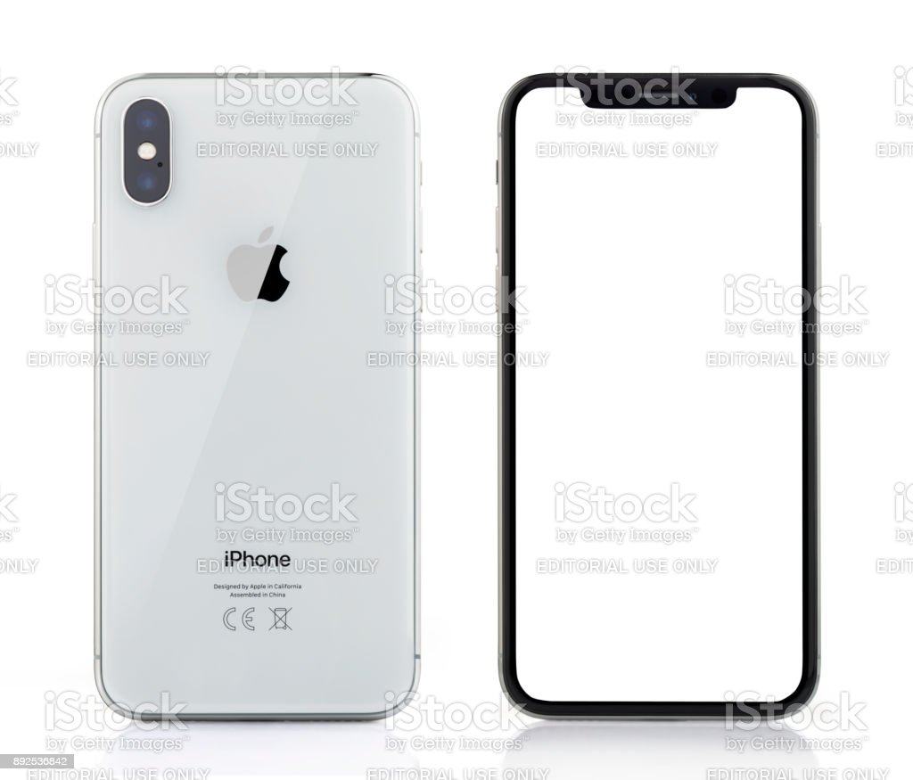 Apple iPhone X Silver White Blank Screen and Rear view stock photo
