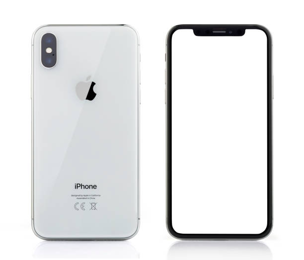 apple iphone x silver white blank screen and rear view - iphone zdjęcia i obrazy z banku zdjęć