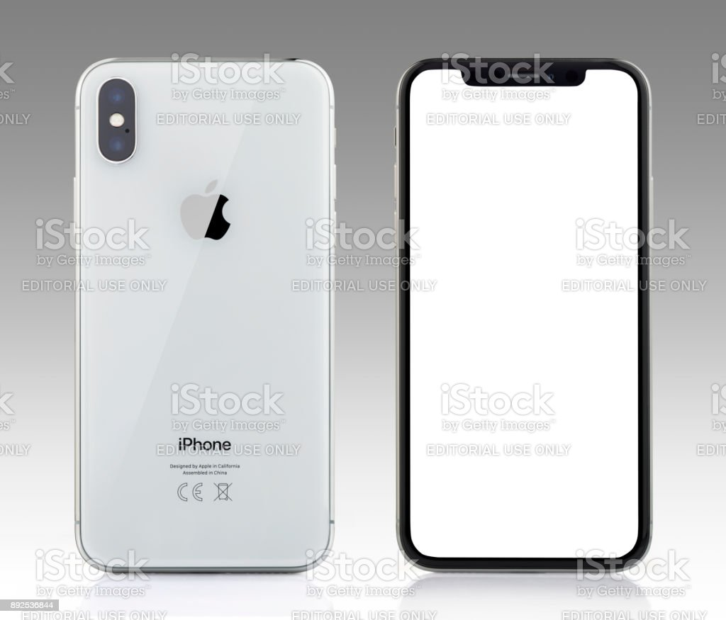 competitive price e63de 6233e Apple Iphone X Silver White Blank Screen And Rear View Stock Photo -  Download Image Now