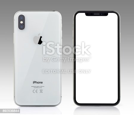 892510910 istock photo Apple iPhone X Silver White Blank Screen and Rear view 892536844