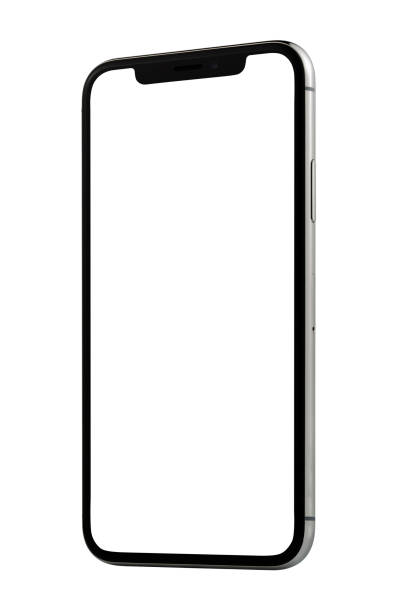 Apple iPhone X Silver White Blank Screen stock photo