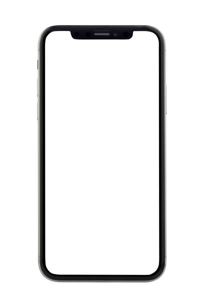 Apple iPhone X Silver White Blank Screen Istanbul, Turkey - November 29, 2017: The new Apple iPhone X Silver Color 256GB Model with White Blank Startup Screen isolated on white background. blank screen stock pictures, royalty-free photos & images