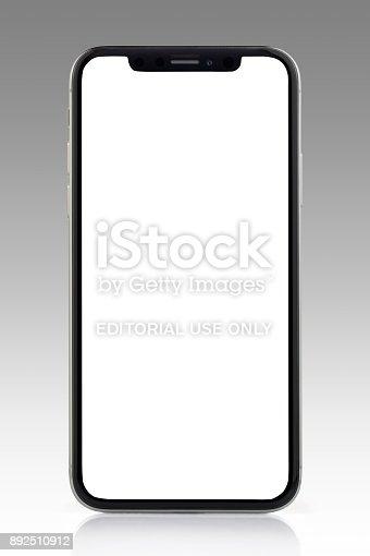 892510910 istock photo Apple iPhone X Silver White Blank Screen 892510912