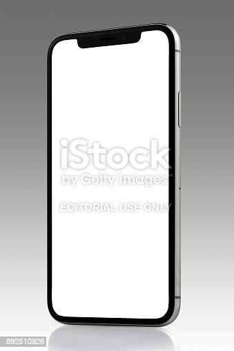 892510910 istock photo Apple iPhone X Silver White Blank Screen 892510926