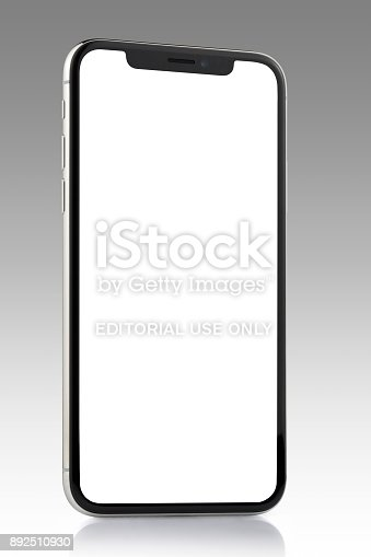 892510910 istock photo Apple iPhone X Silver White Blank Screen 892510930