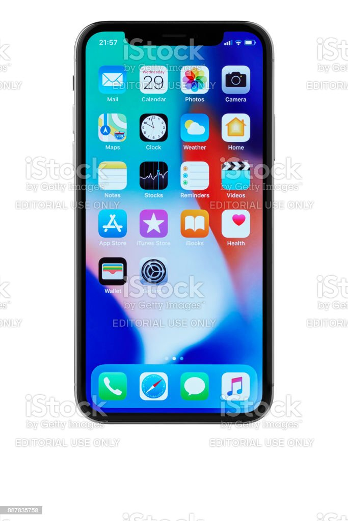 Apple iPhone X Space Grey Home Screen stock photo