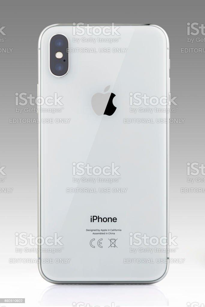 Apple iPhone X Space Grey White Blank Screen stock photo