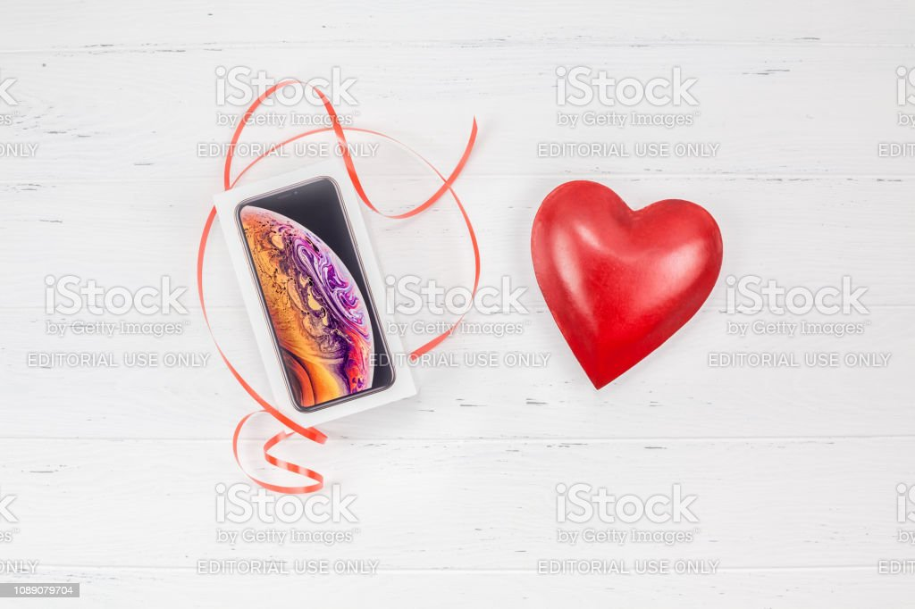 Apple Iphone Xs Box And Valentine Day Red Heart Stock Photo
