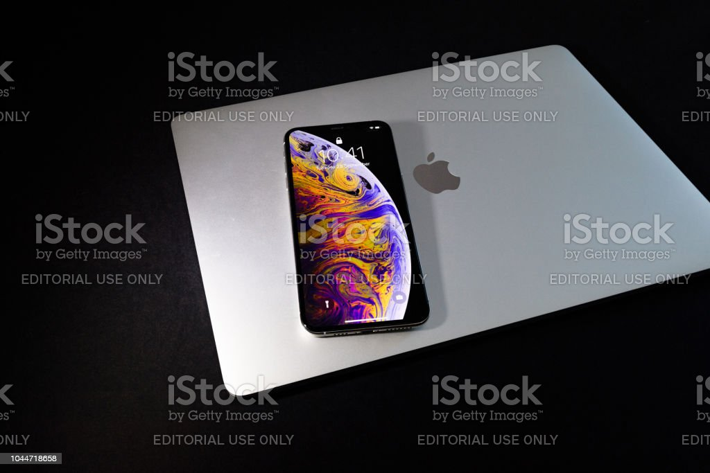 Apple iPhone Xs Max Gold Silver Smartphone stock photo
