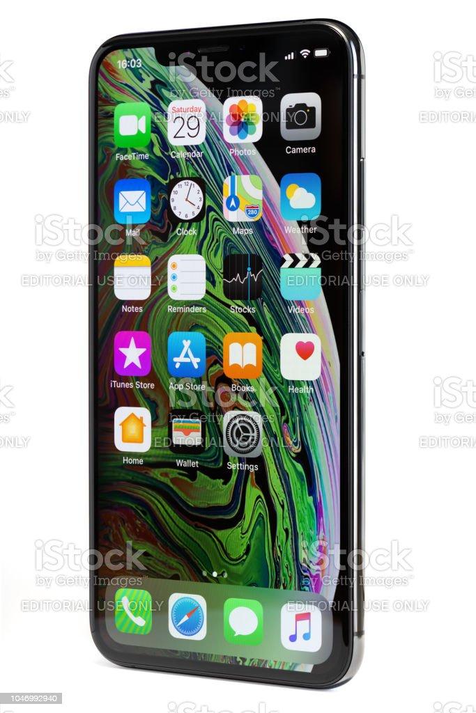 Apple iPhone Xs Max, isoliert auf weißem Hintergrund – Foto