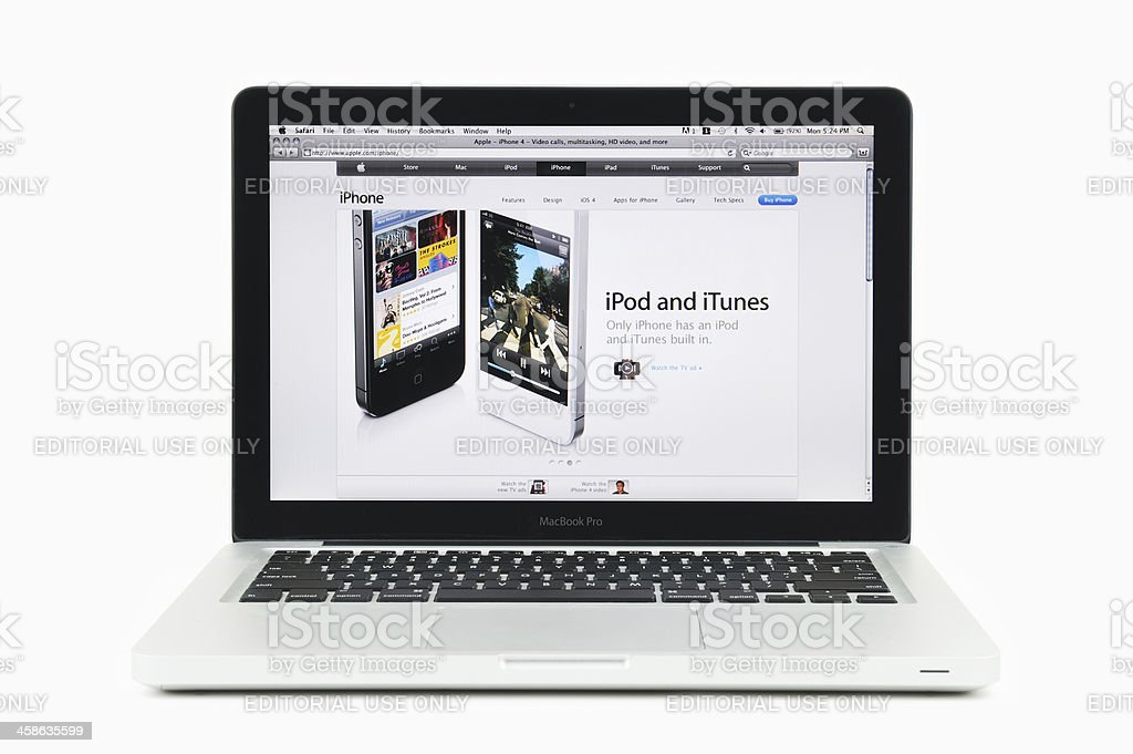 Apple iPod and iTunes Featured on MacBook Pro royalty-free stock photo