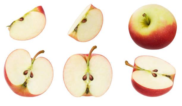 apple isoliert. set von rot reifen äpfeln früchte, hälfte, stück und scheibe isoliert auf weißem hintergrund als kollektion für verpackungsdesign - 25 cent stück stock-fotos und bilder