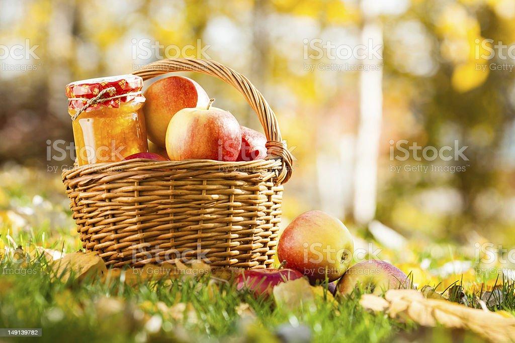 Apple jam in jar royalty-free stock photo