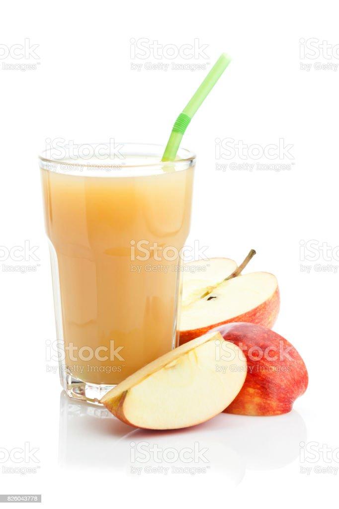 Apple juice glass isolated on white background stock photo