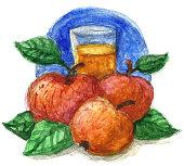 apple juice watercolour