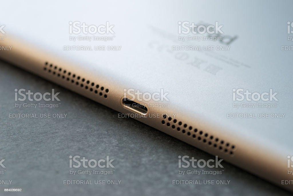 Apple Lightning Connection port on Ipad mini. stock photo