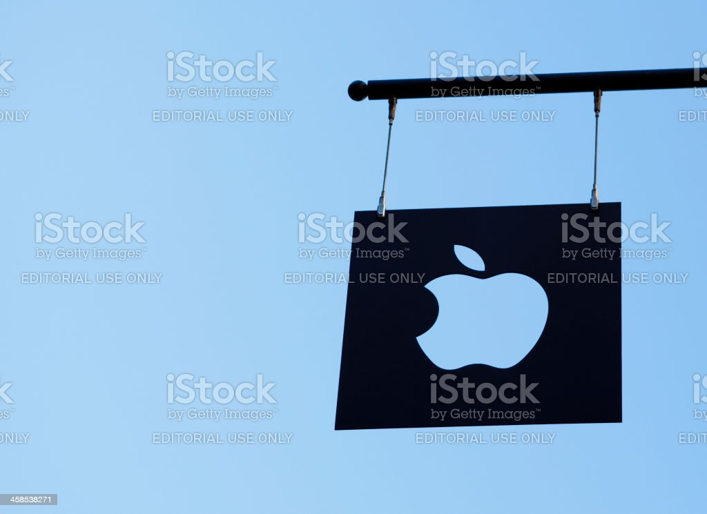 Apple Logo Flag Plate Against Sky stock photo