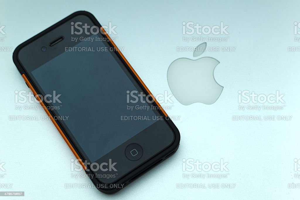 Apple MacBook Air and iPhone 4 stock photo