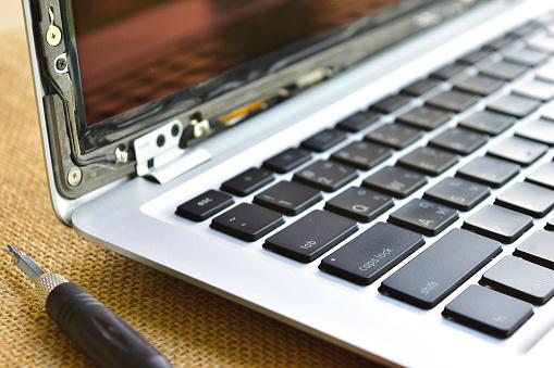 Apple MacBook AIR computer laptop, broken screen, repair and maintenance